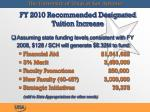 fy 2010 recommended designated tuition increase