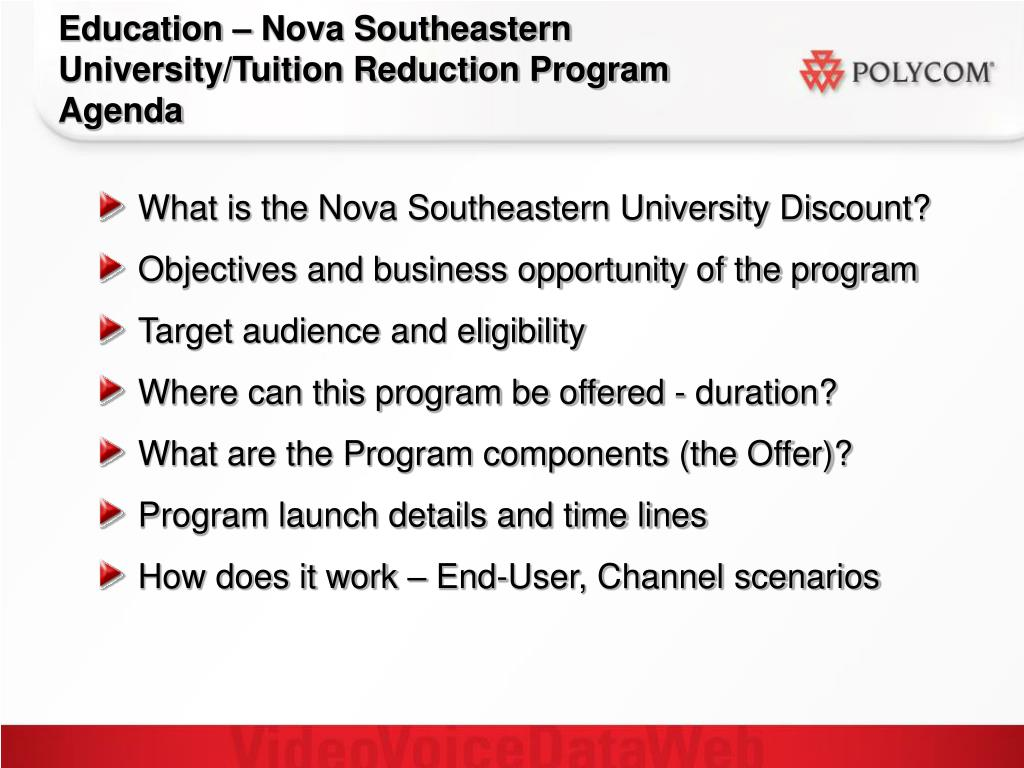 Education – Nova Southeastern University/Tuition Reduction Program Agenda