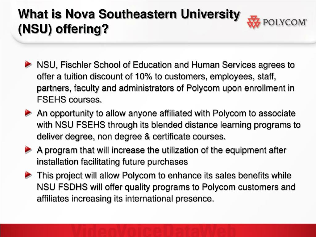 What is Nova Southeastern University  (NSU) offering?