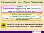 disbursement of loans grants scholarships