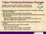 tuition forfeitures schedule changes