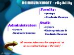 reimbursement eligibility