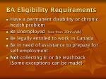 ba eligibility requirements