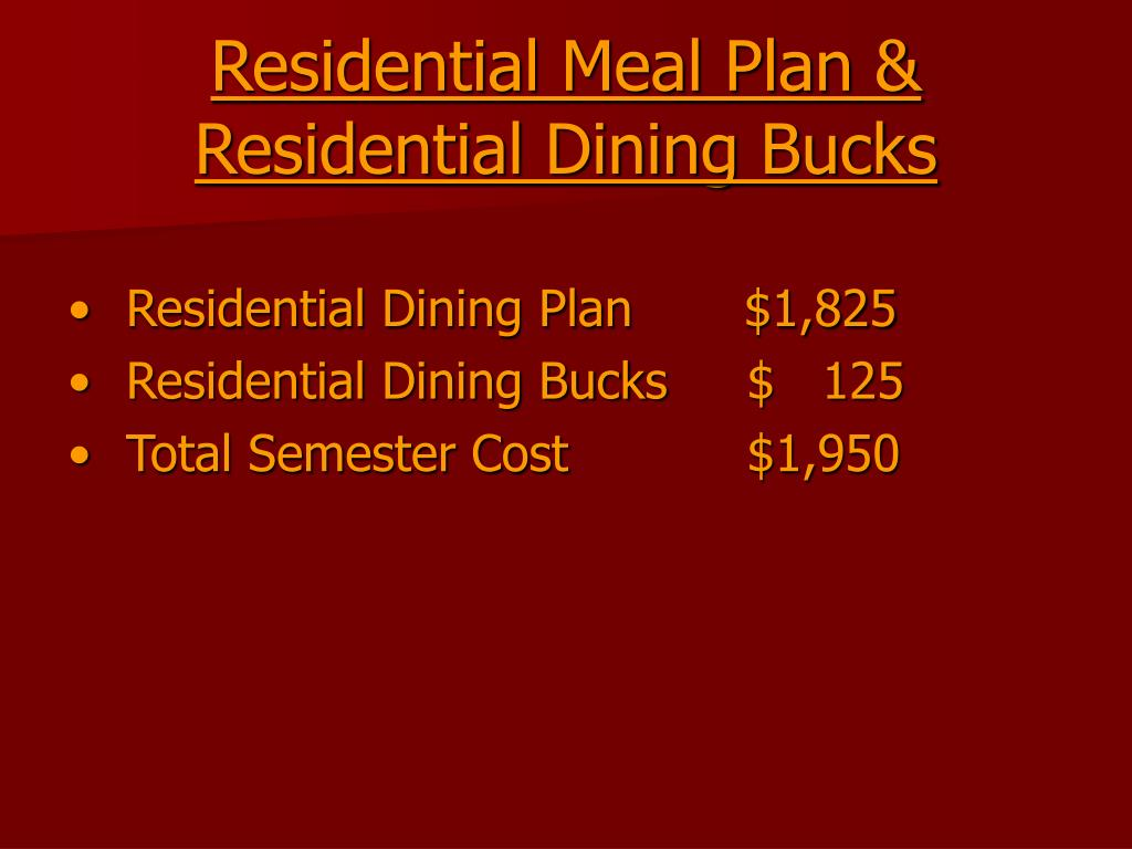 Residential Meal Plan &
