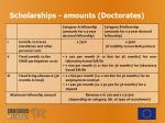 scholarships amounts doctorates