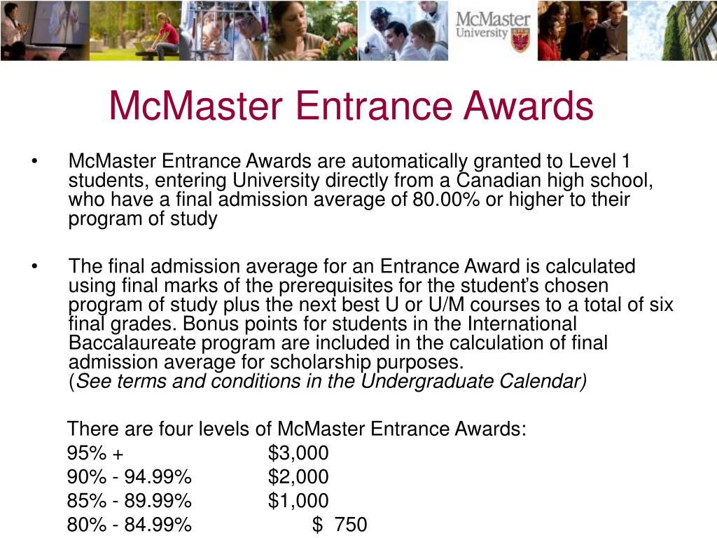McMaster Entrance Awards