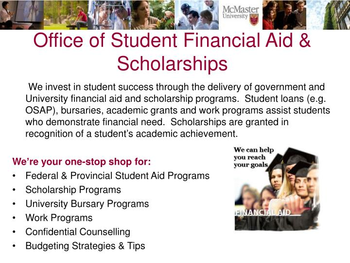 Office of student financial aid scholarships