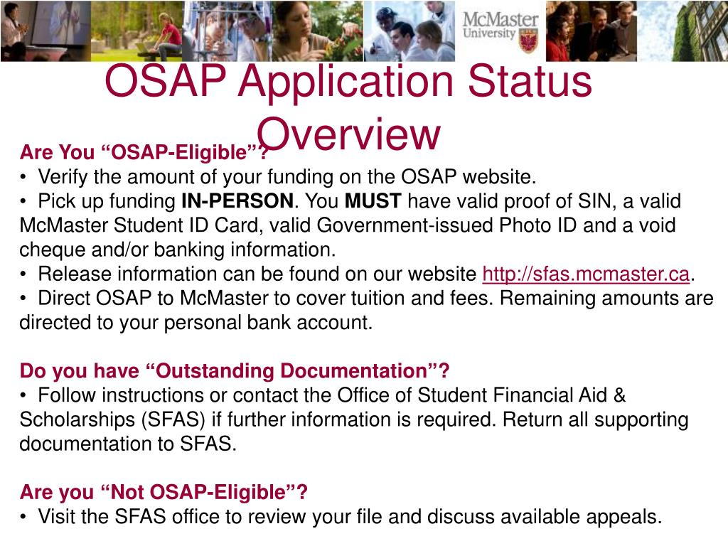 OSAP Application Status Overview