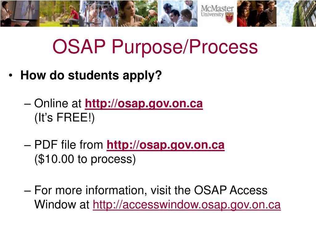 OSAP Purpose/Process
