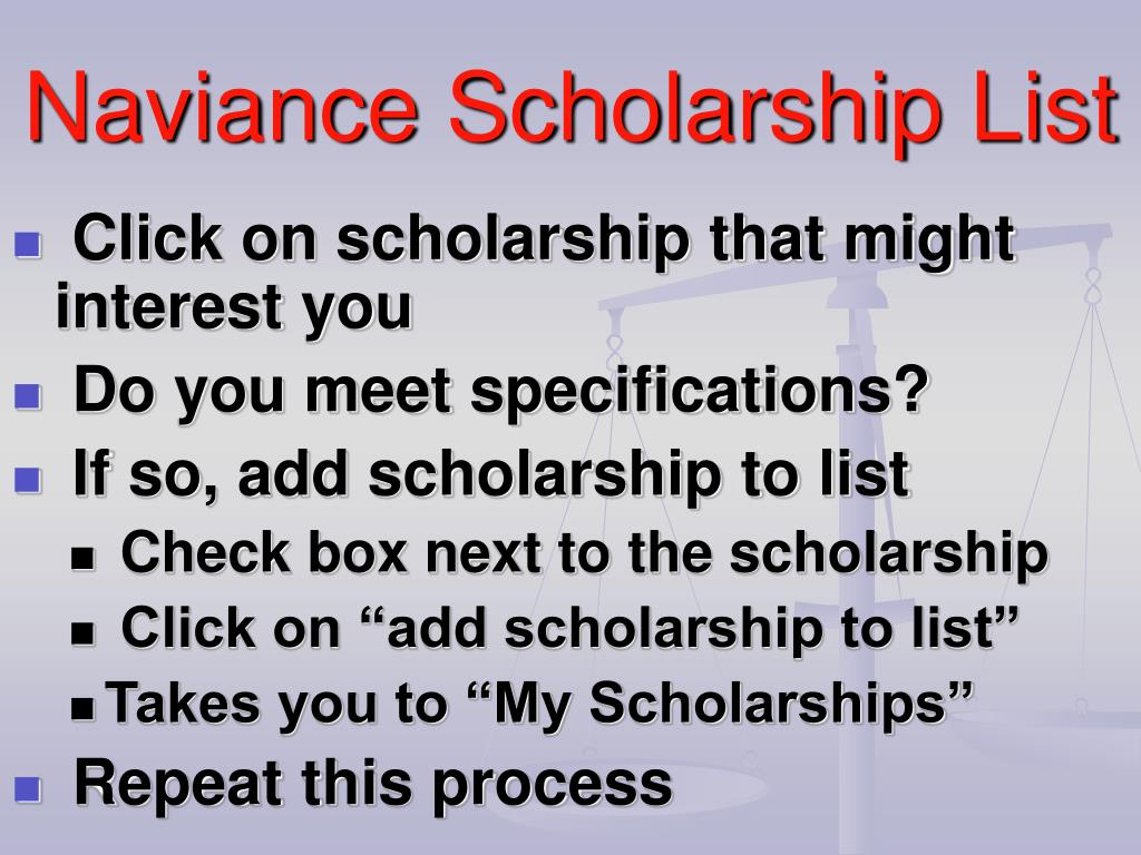 Click on scholarship that might interest you