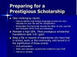 preparing for a prestigious scholarship