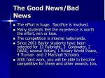 the good news bad news