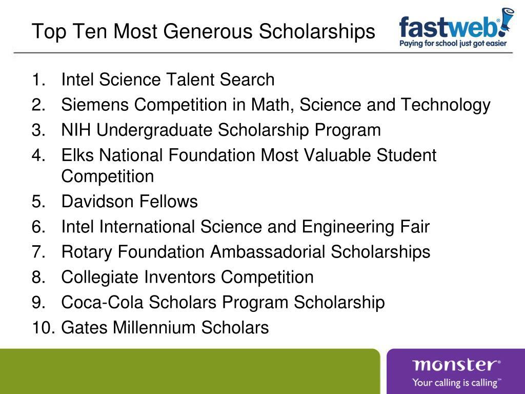 Top Ten Most Generous Scholarships