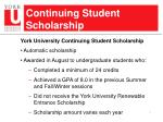 continuing student scholarship