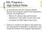 nsl programs high default rates