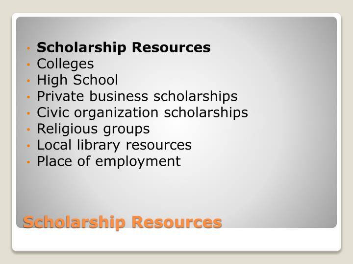 Scholarship resources