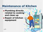 maintenance of kitchen