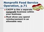 nonprofit food service operation p 71