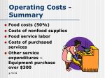 operating costs summary