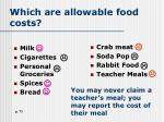 which are allowable food costs