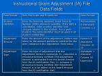 instructional grant adjustment ia file data fields