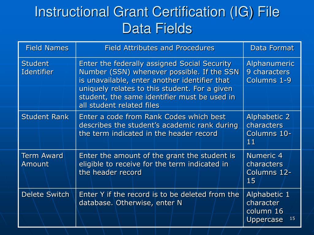 Instructional Grant Certification (IG) File