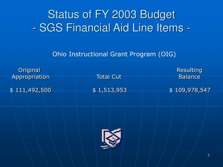 Status of fy 2003 budget sgs financial aid line items
