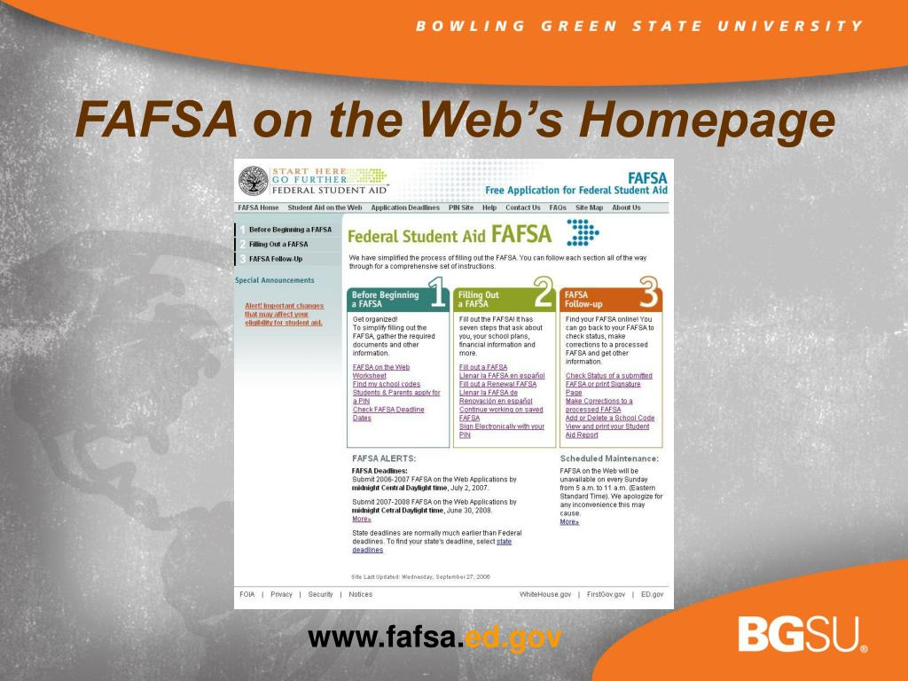 FAFSA on the Web's Homepage