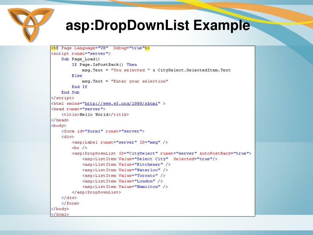 asp:DropDownList Example