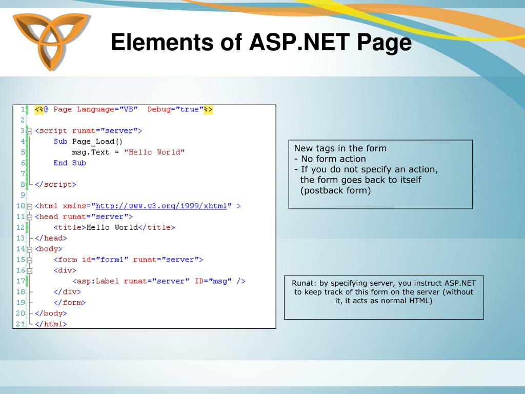 Elements of ASP.NET Page