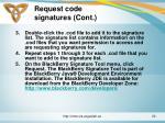 request code signatures cont