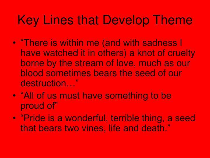 Key Lines that Develop Theme