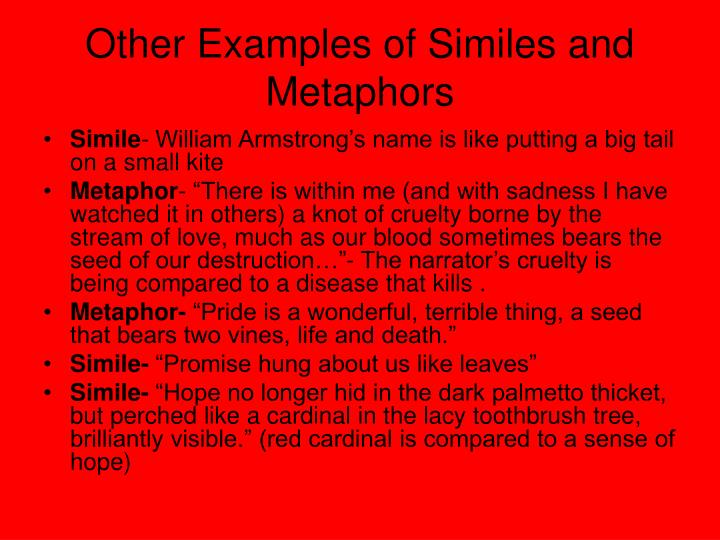 Other Examples of Similes and Metaphors