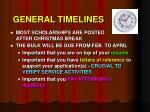 general timelines
