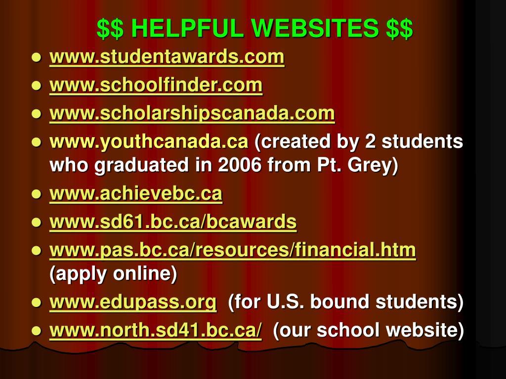 $$ HELPFUL WEBSITES $$
