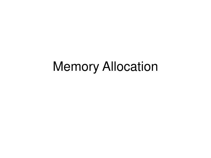 memory allocation n.