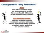 closing remarks why java matters