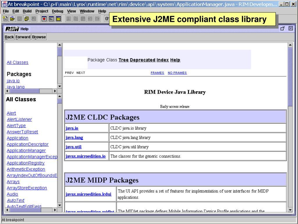 Extensive J2ME compliant class library
