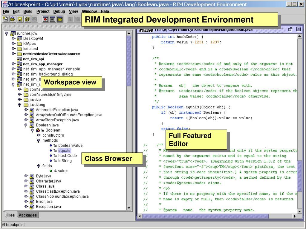 RIM Integrated Development Environment