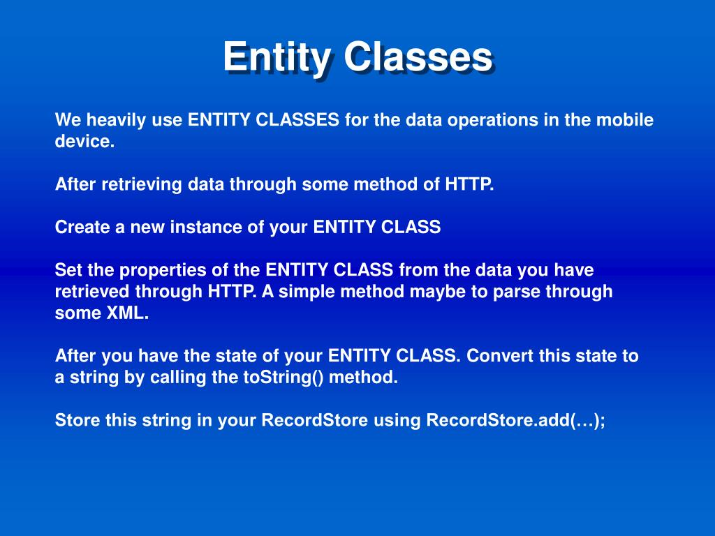 Entity Classes