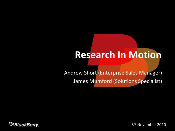 research in motion n.