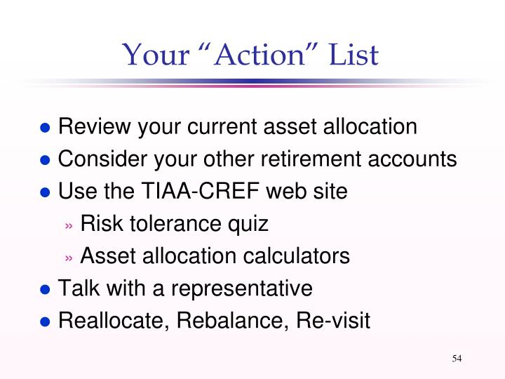 """Your """"Action"""" List"""
