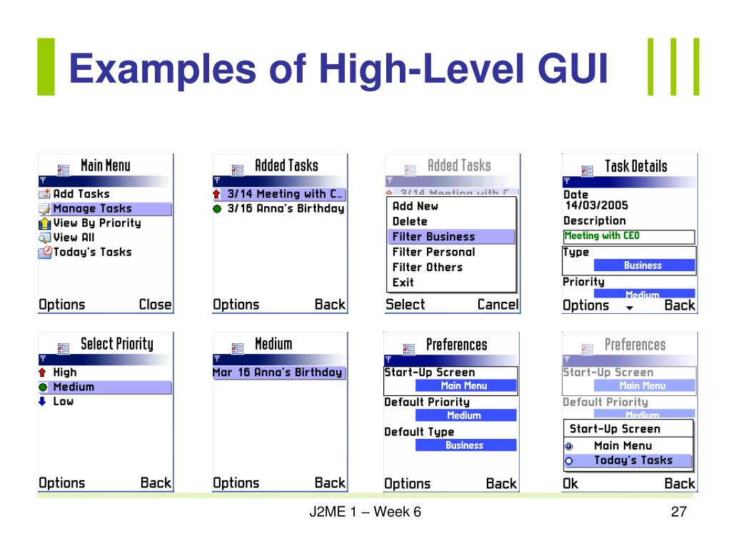 Examples of High-Level GUI