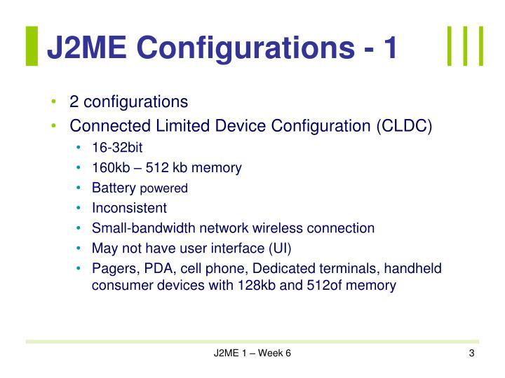 J2me configurations 1