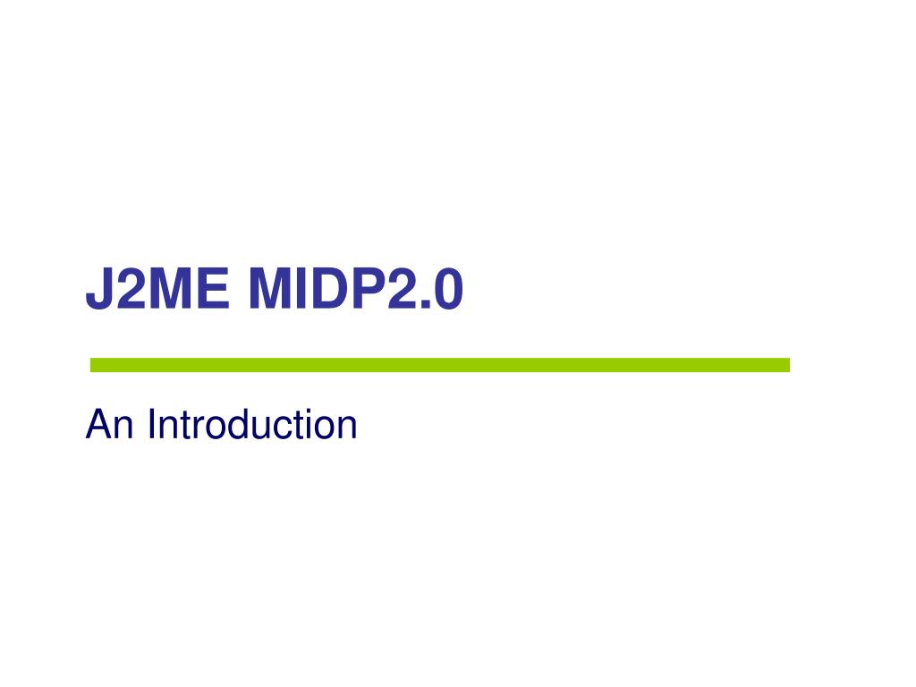 J2ME MIDP2.0