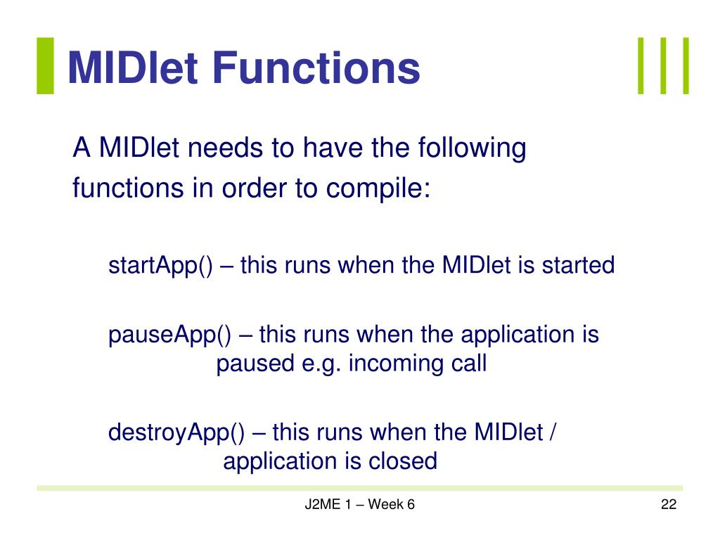 MIDlet Functions