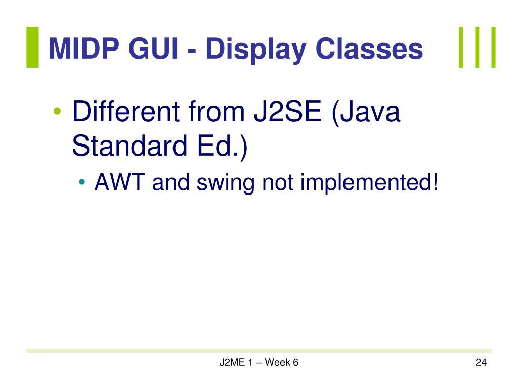 MIDP GUI - Display Classes
