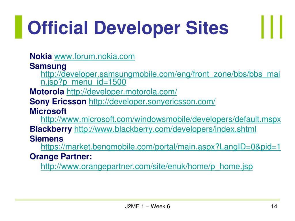 Official Developer Sites