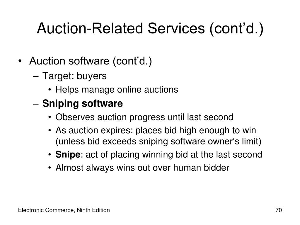 Auction-Related Services (cont'd.)