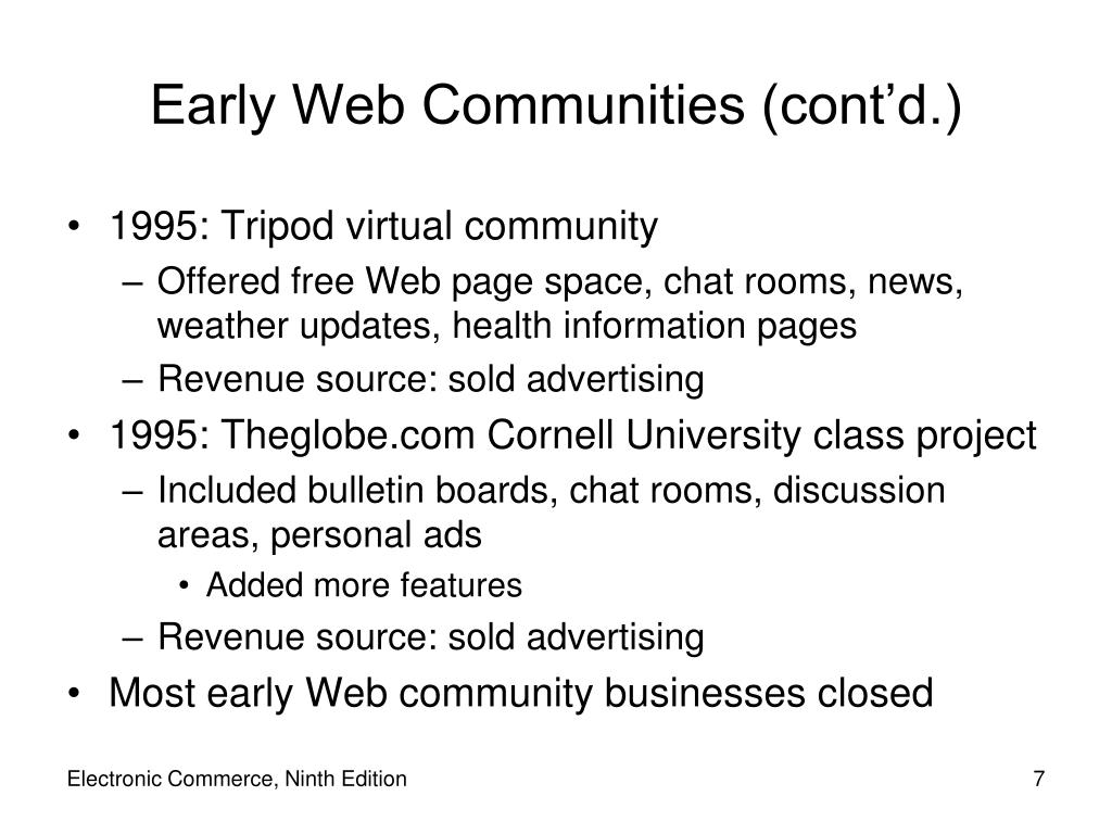 Early Web Communities (cont'd.)